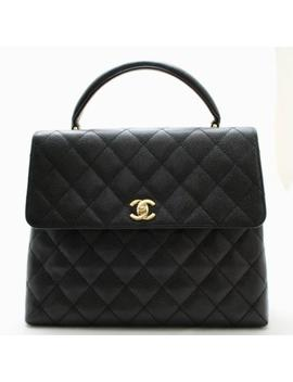 Chanel Jumbo Black Caviar Leather Top Handle Flap Bag 24k Gh Authenticated! by Chanel