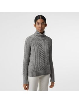 cable-knit-cashmere-turtleneck-sweater by burberry