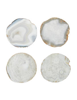 John Lewis & Partners Agate Coasters, Natural/Gold, Set Of 4 by John Lewis & Partners
