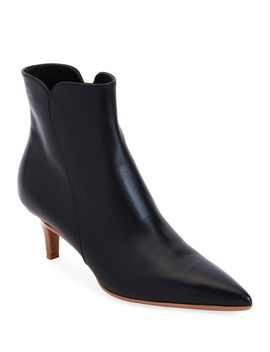 Leather Pointed Zip Booties by Gianvito Rossi
