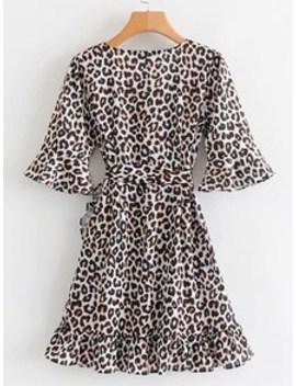 Flounce Sleeve Wrap Ruffle Belt Leopard Dress by Sheinside