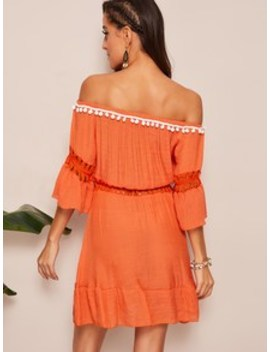 Pompom Patched Off Shoulder Lace Insert Dress by Shein