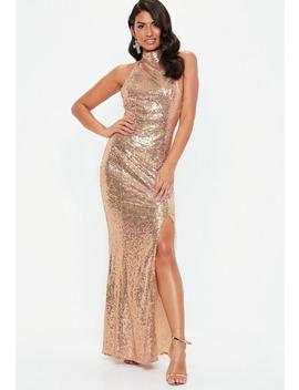 gold-sequin-choker-maxi-dress by missguided