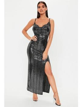 Black Sequin Cowl Neck Side Split Dress by Missguided