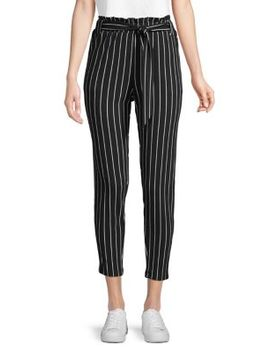 Striped Paperbag Cropped Pants by Pink Dot
