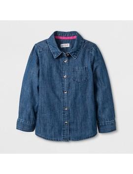 Toddler Girls' Button Down Long Sleeve Shirt   Cat & Jack™ Denim Wash by Cat & Jack
