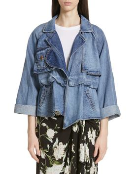 Waterdrops Print Denim Jacket by Johanna Ortiz