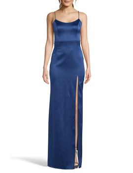 Satin Front Slit Evening Dress by Xscape