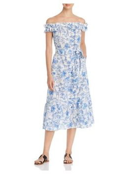 Off The Shoulder Printed Dress by Tory Burch
