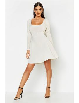 Structured Waist Slinky Skater Dress by Boohoo