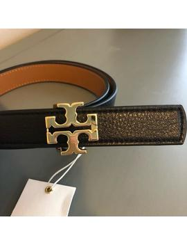 Black/Tan Reversible Logo Belt by Tory Burch