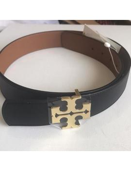 "Black/Tan Reversible 1.5"" Thick Belt by Tory Burch"