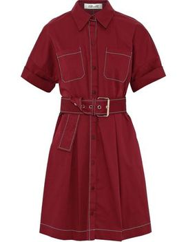 Belted Stretch Cotton Mini Shirt Dress by Diane Von Furstenberg
