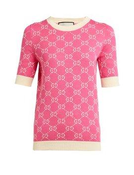Gg Logo Jacquard Cotton Sweater by Gucci