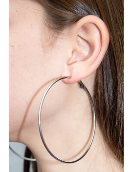 Large Silver Hoop Earrings by Brandy Melville