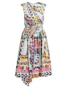 Venice Postcard Print Cotton Midi Dress by Prada