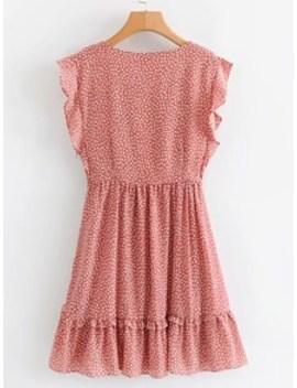 Self Tie Dalmatian Print Ruffle Dress by Sheinside