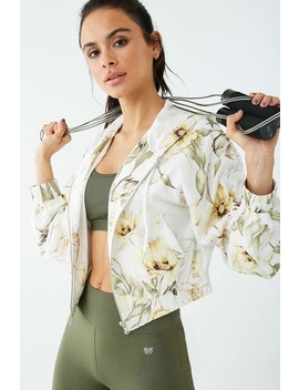 Active Floral Hooded Cropped Windbreaker by Forever 21