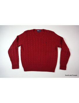 """<Span Data Preview Title="""""""">Vintage Men's Polo By Ralph Lauren Pony Logo Sweater Size Large Red Ribbed V...</Span>          <Span Data Full Title="""""""" Aria Hidden=""""True"""" Class=""""Display None"""">Vintage Men's Polo By Ralph Lauren Pony Logo Sweater Size Large... by Etsy"""