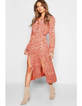 Leopard Collar Button Through Belted Midi Dress by Boohoo