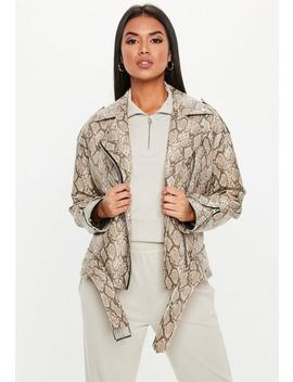Brown Snake Print Faux Leather Biker Jacket by Missguided
