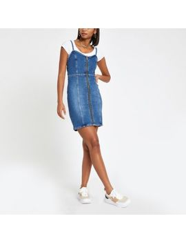 Mid Blue Denim Pinafore Dress by River Island
