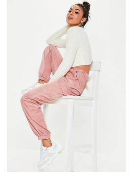 Pink Faux Suede Cargo Trousers by Missguided
