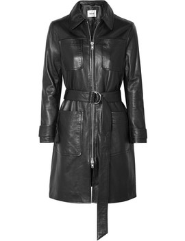 keren-belted-leather-coat by stand