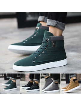 Fashion Mens's High Top Trainers Boots Sneakers Casual Lace Up Combat Shoes Size by Unbranded