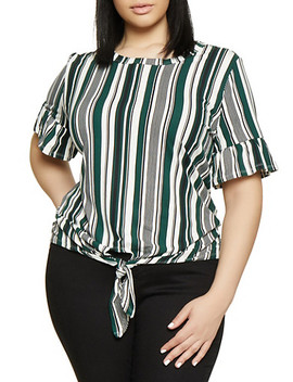 Plus Size Striped Tie Front Bell Sleeve Tee by Rainbow