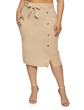 Plus Size Button Detail Tie Waist Pencil Skirt by Rainbow