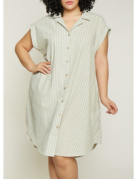 Plus Size Striped Linen Shirt Dress | 1390056121890 by Rainbow