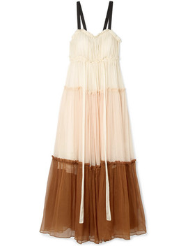 Celia Grosgrain Trimmed Ruffled Silk Crepon Maxi Dress by Lee Mathews