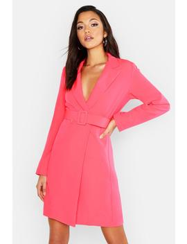 Tall Self Belt Neon Blazer Dress by Boohoo