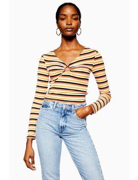 Stripe Hoop Long Sleeve Top by Topshop