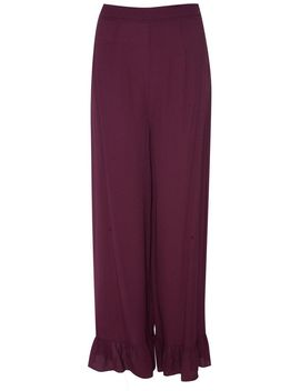 **Burgundy Flowy Trousers By Glamorous by Topshop