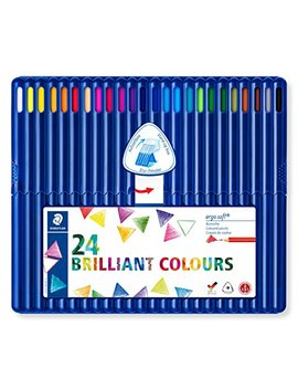 Staedtler 157 Sb24 Ergosoft Triangular Colouring Pencils   Assorted Colours, Pack Of 24 by Staedtler