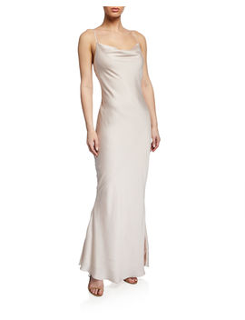 Cowl Neck Spaghetti Strap Bias Cut Satin Slip Dress by Shona Joy