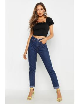 High Waist Turn Up Mom Jean by Boohoo