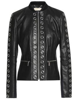 Eyelet Embellished Leather Jacket by Michael Michael Kors