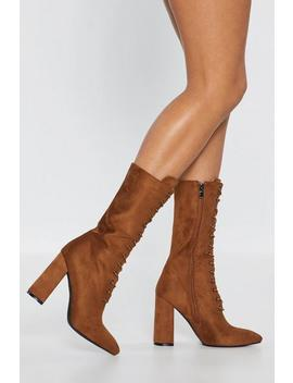 Tan Immi Block Heel Lace Up Calf Boot by Nasty Gal