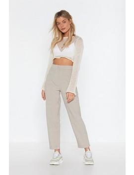 Beige Check Turn Up Tapered Pants by Nasty Gal