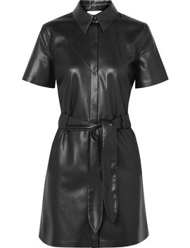 Roberta Belted Vegan Leather Mini Dress by Nanushka