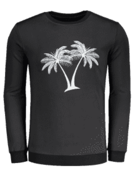 Coconut Palm Embroidered Sweatshirt   Black Xl by Zaful
