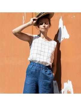 Linen Tank Top Vienna / Round Neck Washed Linen Blouse / Linen Tank Top In Large Checks by Etsy