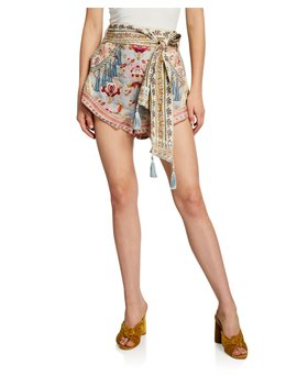 High Cut Printed Shorts W/ Tie Detail by Camilla