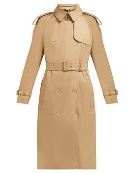 Double Breasted Cotton Gabardine Trench Coat by Burberry