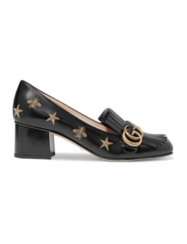Marmont Fringed Logo Embellished Embroidered Glossed Leather Pumps by Gucci