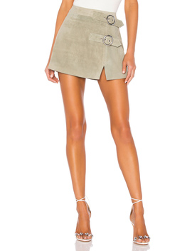 Mid Rise Double Buckle Skirt by Understated Leather