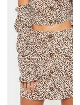 Cream Leopard Print Button Detail Mini Skirt by Prettylittlething